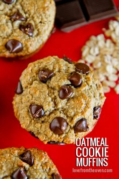 Oatmeal Chocolate Chip Cookie Muffins.   Can easily be made gluten free.