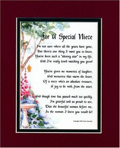 For A Special Niece Touching 8x10 Poem Double Matted In Burgundy Dark Green And Enhanced With Watercolor Graphics