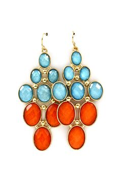 Fire and Ice Shimmer Chandelier Earrings on Emma Stine Limited