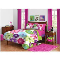 For Brianna's room. Girl Fun Bright Green Pink Purple Bright Flower Floral Twin Comforter Set (2pc Set) From Kids Bedding