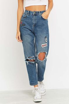 BDG Embroidered Ripped Blue Mom Jeans