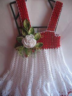 Vestido de verano en rojo y blanco con rosa para niña algodón OOAK