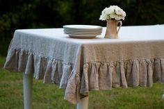 60x120 Flax Ruffled Linen Tablecloth by ruffledlinens on Etsy, $144.95