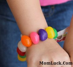 Jelly Bean Bracelet. A Fun Easter crafts for kids. Make this easy candy jewelry with just a few things.