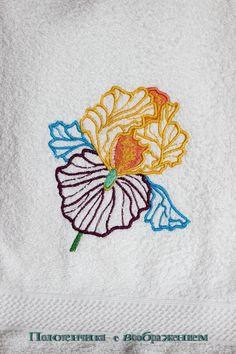 Купить Ирис Цветущий. Полотенце для любимых ручек. - белый, полотенце с вышивкой, полотенце для рук