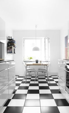black & white floor - I would lay the checker board diagonally to make it more dramatic and feeling spaciously