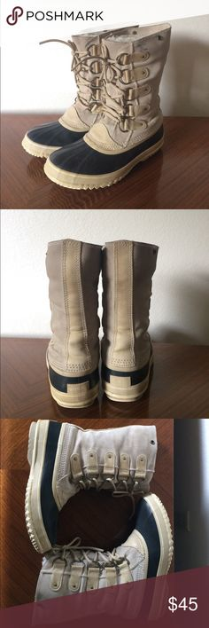 Sorel Joan of Arctic boots Tan waterproof Sorel boots in a size 10. I replaced the furry liners with a men's shearling-cuff size 8 which fit me perfectly since I'm more of a women's 9.5 than a 10. The true Joan of Arctic innerboot liners have a faux fur cuff and replacements can be purchased online if you prefer that look or if you're a true 10. Leather has a few scuffs / spots (see photos) and the tread on the heel is worn but these boots are still waterproof and warm and cute! No trades…