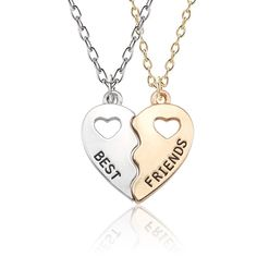 Trendy Best Friends Forever Necklace BFF Necklaces For Women Hollow Broken Love Heart Pendant Gold Silver Necklaces&Pendants Bff Necklaces, Best Friend Necklaces, Best Friend Jewelry, Matching Necklaces, Couple Necklaces, Silver Necklaces, Bff Bracelets, Silver Earrings, Diamond Solitaire Necklace