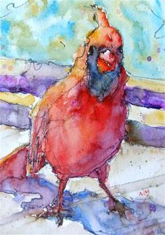 """Watercolour painting of a red cardinal bird by Nora MacPhail: #watercolor, #art, #bird, 5""""x7""""painting with 8""""x10""""matt, $50"""