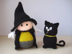 Wanda the Witch and black cat toy knitting patterns