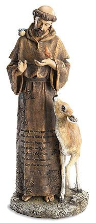 This Saint Francis Statue / Figurine measures 12 inches and includes the St. Francis Prayer on his robe.