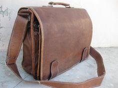 Large Men Leather satchel leather messenger bag vintage Retro look. $160.00, via Etsy.