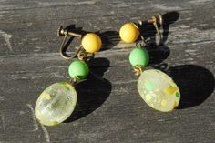 VintageYellow and Lime Green Dangle Screw On Earrings - Free Shipping on Etsy, $6.00