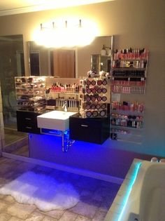 #makeup vanity...pretty sure I need this!! I definitely don't have this much makeup but this is AWESOME!