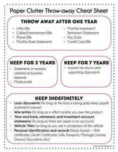 How to Get Rid of Paper Clutter at Home FREE Printable what you can toss and what you actually need to keep. Finally get a grip on all that paper! The post How to Get Rid of Paper Clutter at Home appeared first on Paper ideas. Organisation Hacks, Organizing Paperwork, Paper Organization, Life Organization, Organizing Paper Clutter, Organizing Tips, Decluttering Ideas, Filing Cabinet Organization, Paper Storage