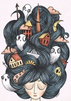 Doodles by Mayra Arvizo Black E White, Cute Illustration, Cute Drawings, Cute Art, Art Inspo, Bunt, Art Sketches, Painting & Drawing, Watercolor Art