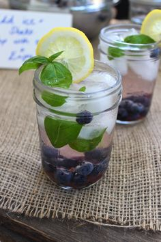 Pre-Made Drinks in Jars: Rum Spiked Blueberry Basil Lemonade.