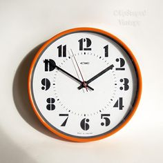Vintage 1960s/70s Retro Orange METAMEC Quartz Working Kitchen Clock with Kienzle Movement by UpStagedVintage on Etsy
