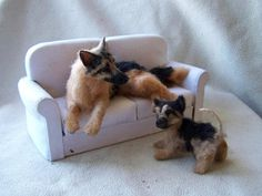 Ooak Miniature Dollhouse German Shepherd mom and puppy by