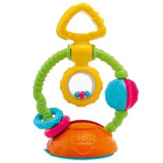 Chicco Touch & Spin.  A good suction cup toy for high chair/bumbo seat.  Also good to have at restaurants.