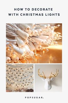 23 Unique Ways to Decorate With Christmas Lights Diy Christmas Lights, Decorating With Christmas Lights, Christmas Diy, Christmas Decorations, Xmas, Flower Lights, Fairy Lights, Christmas Shadow Boxes, Diy Pumpkin
