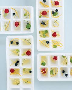 Martha's ice cubes...drop fruit into ice cubes trays