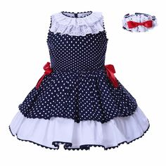 Pettigirl Baby Dresses For girls summer Clothes Navy blue Dots With Headwear Kids Princess Dress African Dresses For Kids, Little Dresses, Little Girl Dresses, Girls Dresses, Baby Dresses, Girls Summer Outfits, Teenage Girl Outfits, Kids Outfits, Summer Clothes