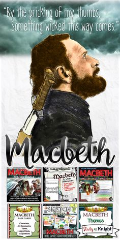 Macbeth by William Shakespeare. Literature guide, Characters, Quizzes, Journal and Essay Prompts, 25 Daily Writing or Discussion Prompts, Task Cards, PowerPoint, Test and Answer Key. Sketchnotes- themes, symbols, and apparitions. British Literature. Macbeth, The witches, Macduff, power hungry Lady Macbeth, the haunting Ghost of Banquo…and more! ($)