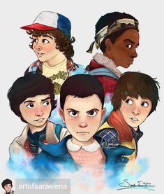 "Stranger Things. en Instagram: ""By @artofsaraelena - The gang finally all done!!✨☄️ Look out for a giveaway of my Stranger Things fanart this next week or so!! I also…"""