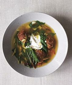 Spiced Lamb Meatball and Swiss Chard Stew from realsimple.com #myplate #protein #vegetables