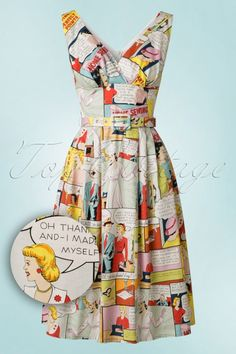 Victory Parade TopVintage Exclusive ~ 50s Cartoon Frock Swing Dress in Yellow