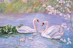 Swan Family - Jigsaw Puzzle by Tomax Watercolor Pictures, Watercolor Animals, Watercolor Art, Animal Paintings, Animal Drawings, Swan Pictures, Swan Painting, Watercolor Flowers Tutorial, Bird Wallpaper