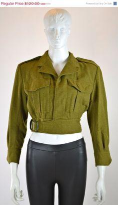 ETSY SALE ARMY Jacket Bolero Jacket / Cropped by MyrtleBedford, $60.00