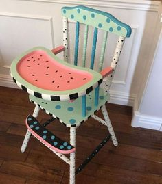 Outstanding Diy Painted Chair Designs Ideas To Try 36 Painted High Chairs, Funky Painted Furniture, Paint Furniture, Repurposed Furniture, Kids Furniture, Furniture Makeover, Modern Furniture, Office Furniture, Furniture Design