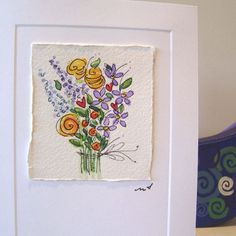 Card Original Art Watercolor Lotza Flowers by betrueoriginalart