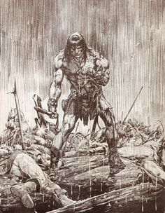 Original Deadman pencil sketch artwork by famed groundbreaking artist Neal Adams which was added to the background of a mini-poster of Conan the Barbarian sold by Continuity Studios in Comic Book Artists, Comic Artist, Comic Books Art, Fantasy Kunst, Fantasy Art, Conan Der Barbar, Conan The Destroyer, Conan Comics, D Mark