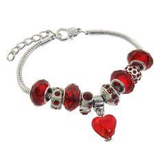 "Red LOVE Bracelet for Girls. Murano Style Glass Beads and Charm Bracelet, 7.5+1"" Extender. Only $19,-"