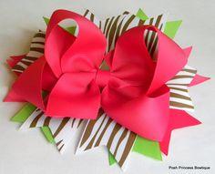 Girls hair bows Boutique hair bow Brown zebra hair bow Stacked hair bows Zebra hair bow. $12.75, via Etsy.