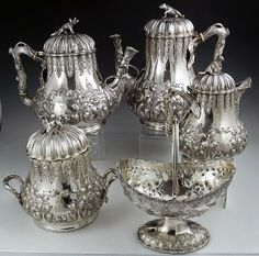 El Secreto Encanto De La Diva: Antique sterling silver tea set.