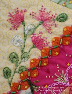 CQJP2015April02, details~ This is one of my favorite parts of this block. I love the round leaves and the effect the beads add to the flower heads! For the rick-rack seam, I used beads and French knots to hold it in place. ~By Lisa Plooster Boni, ivoryblushroses