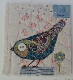 Unframed appliqued bird with embroidery on to vintage quit fragment Art Textile, Textile Artists, Fabric Birds, Fabric Art, Bird Applique, Bird Quilt, Needle Felting Tutorials, Free Motion Embroidery, Textiles