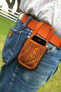 Hawaiian Tribal Leather Cell Phone Case iPhone by KuaAinaSaddlery, $55.00
