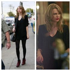 Taylor shopping today, she's wearing her Grammy necklace. And let's take a minute to look at her hair