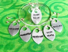 handstamped silver wine glass charms set of 6 white wines. made in ireland. by terramor on Etsy Types Of White Wine, White Wines, Jewelry Ideas, Unique Jewelry, Wine Glass Charms, Hand Stamped Jewelry, Pure Copper, Ireland, Great Gifts