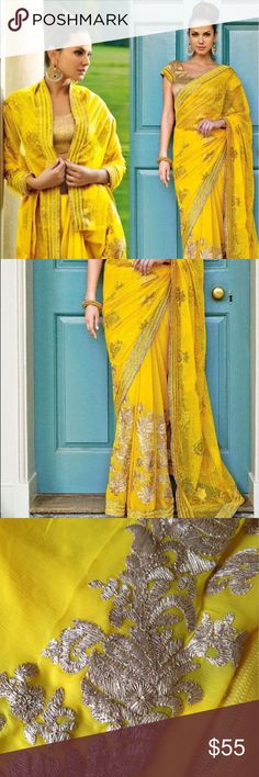 Glittering Yellow chiffon IIFA designer saree sari Designer saree for IIFA collection: Chiffon Yellow brasso saree. Net pallu with gold Zari embroidery and border work. Comes with matching pale gold unstitched blouse. Saree fall attached. Make an offer. 😊 Other