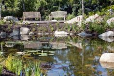 Benches Are Located Throughout the Garden - at Maine Coast Botanical Gardens, Boothbay
