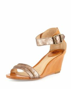 Carol+Leather+Wedge+Sandal,+Bronze+by+Frye+at+Neiman+Marcus+Last+Call.