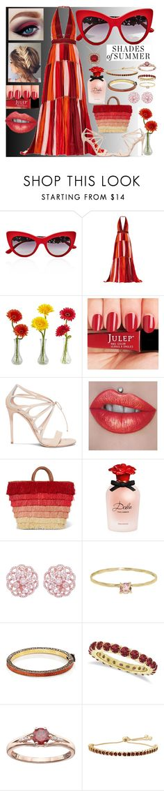 """""""Red Shades/Sunglasses of Summer"""" by snowflakeunique ❤ liked on Polyvore featuring Dolce&Gabbana, Jenny Packham, Nearly Natural, Casadei, Kayu, Emilio!, Melissa Joy Manning, Sevan Biçakçi and Allurez"""