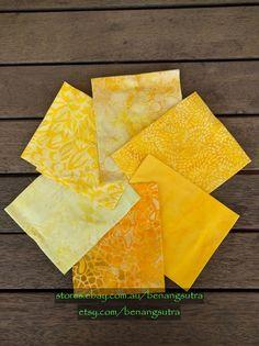 """Canary Diamond"" Batik Fabric Fat Quarter Pack (6 pieces) - 50cm x 56cm or 20"" x 22"" - $24.50"