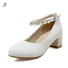 0a3920b0166a AmoonyFashion Women s Solid Fabric Kitten Heels Round Closed Toe Buckle  Pumps-Shoes